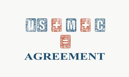 USMCA - United States Mexico Canada Agreement. Decorated USMCA letters. Illustration