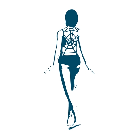 Sexy woman silhouette wearing lingerie decorated by spider net