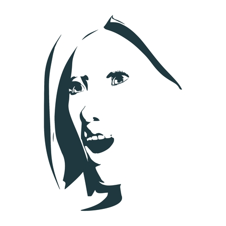 cara lateral vista . elegante silueta de una mujer joven hermosa mujer sorprendida con la boca abierta