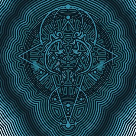 Mystical geometry symbol. Linear alchemy, occult, philosophical sign. Decorative orangutan head. For music album cover, poster, sacramental design. Astrology and religion concept.