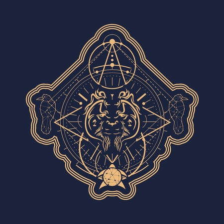Mystical geometry symbol. Linear alchemy, occult, philosophical sign. Low poly raven, turtle and orangutan head. For music album cover, poster, sacramental design. Astrology and religion concept. Illustration