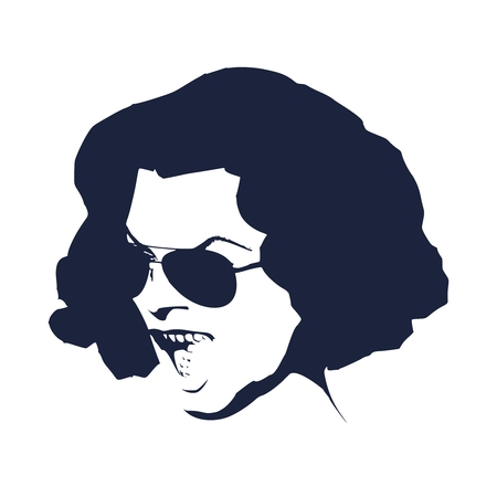 Portrait of shocked woman with open mouth in black sunglasses. Retro hairstyle. Illustration