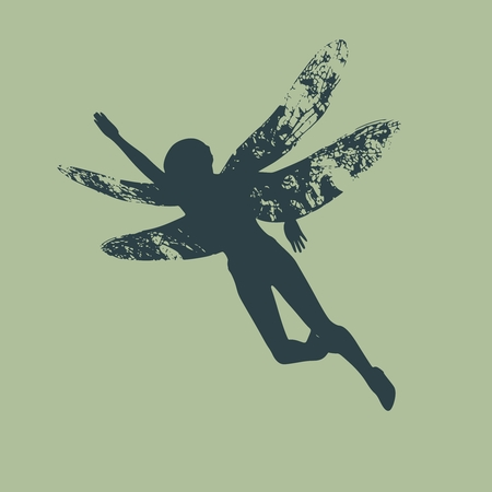 Flying woman silhouette with wings of dragonfly Stock Illustratie