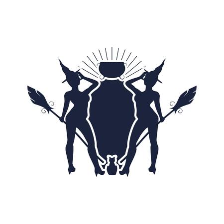 Emblema abstracto con tema de Halloween. Palos de escoba, brujas y campo para texto.