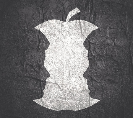 An apple or two men face profile view. Optical illusion. Human head make silhouette of fruit. Homosexual relative silhouettes