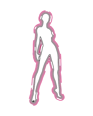 Sexy woman silhouette. Female figure posing. Front view. Outline icon