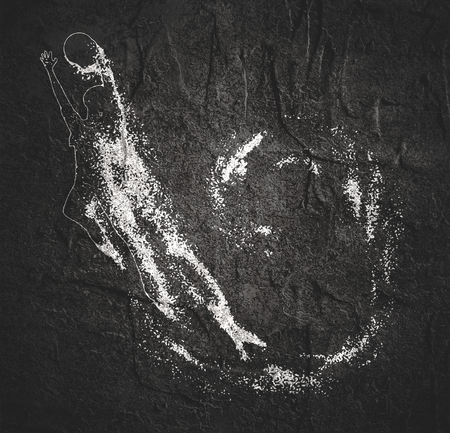 Basketball player with trail of particles. Girl jumping and catching the ball Imagens