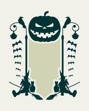 Abstract emblem with Halloween theme. Broomsticks, witches and field for text