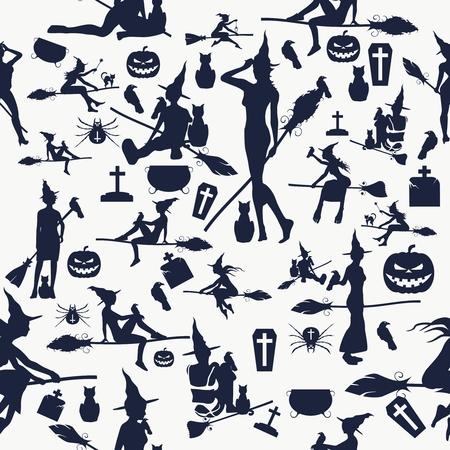 Halloween Seamless pattern. Vector illustration. Witchcraft relative theme