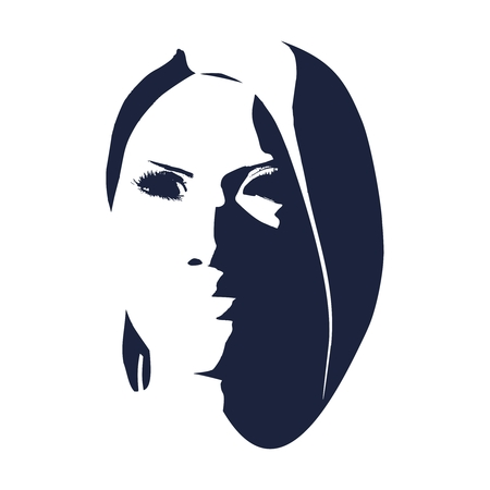 Face front view. Elegant silhouette of a female head. Portrait of a happy smiled woman Illusztráció