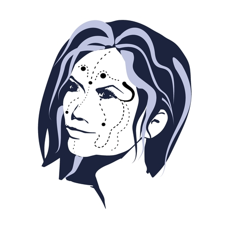 Day of The Dead Woman with Sugar Skull Face Paint Illustration