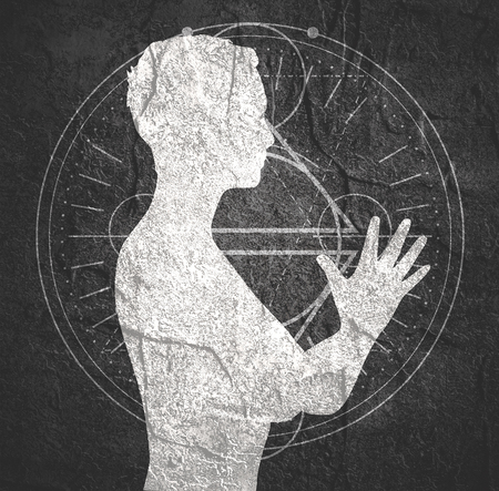 Woman folded his hands in prayer. Lady silhouette. Short hair. Linear alchemy, occult, philosophical sign on backdrop Stock Photo