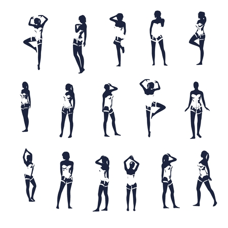 Colección de siluetas de mujeres de moda. Varias pose y tela