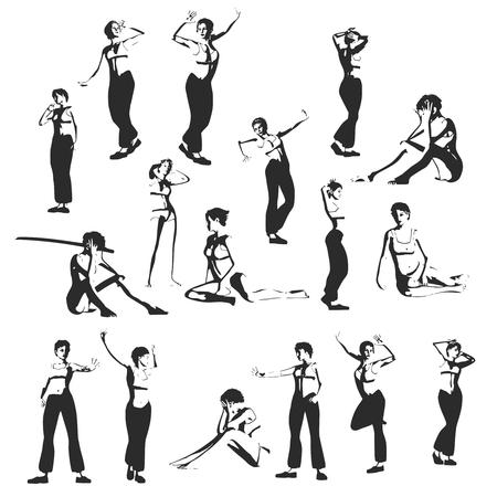 Fashion women silhouettes collection. Various pose and cloth Ilustração