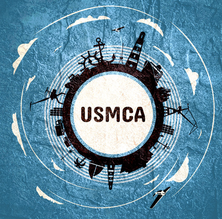 USMCA - United States Mexico Canada Agreement. Circle with sea shipping and travel relative silhouettes. Objects located around the circle. Foto de archivo