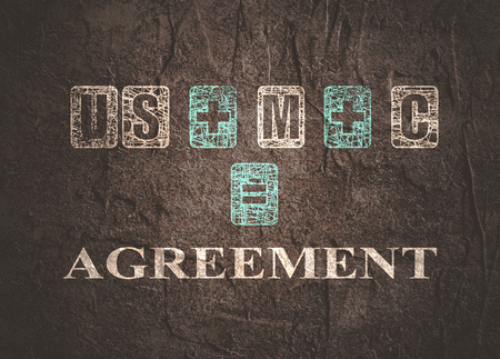 USMCA - United States Mexico Canada Agreement. Decorated USMCA letters. Stock Photo