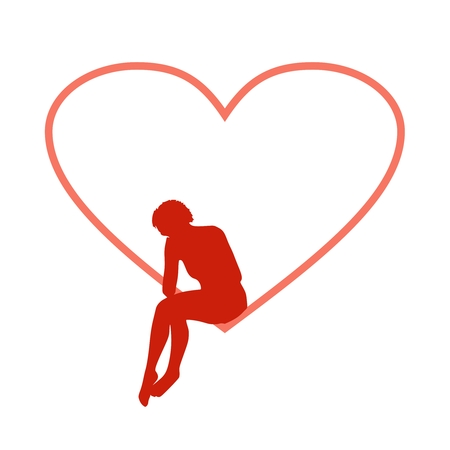 Illustration of a woman sitting in heart shape hole. Sadness and loneliness. Unhappy love metaphor Standard-Bild - 110957746