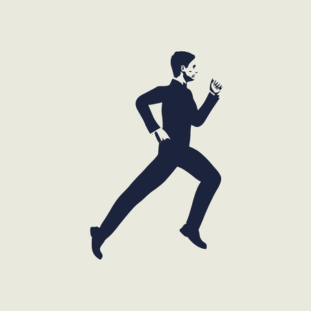 Businessman running forward. Abstract illustration. Modern lifestyle metaphor. Web icon with for application Stock Illustratie