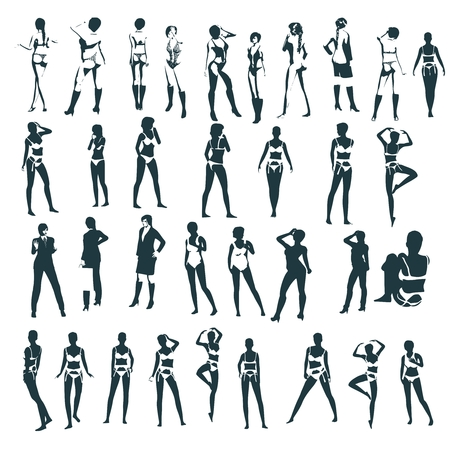 Fashion women silhouettes collection. Various pose and cloth Ilustracja