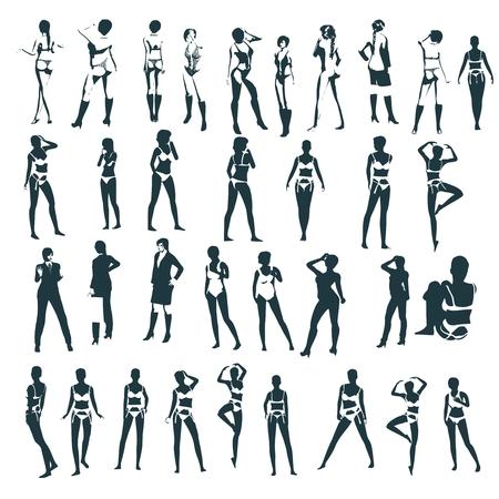 Mode-Frauen-Silhouetten-Kollektion. Verschiedene Posen und Kleidung
