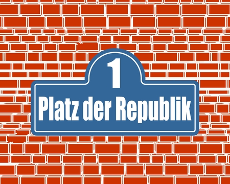 Street signs with an inscription in German Republic Square, the building number one in Berlin Germany.