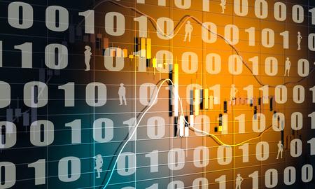 Forex candlestick pattern. Trading chart concept. Financial market chart. Binary code. 3D rendering