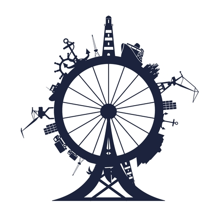 Circle with sea shipping and travel relative silhouettes. Vector illustration. Objects located around ferris wheel. Industrial design background.