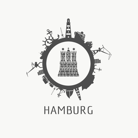Sea shipping and travel relative silhouettes around the circle. Hamburg city element from coat of arms Ilustrace