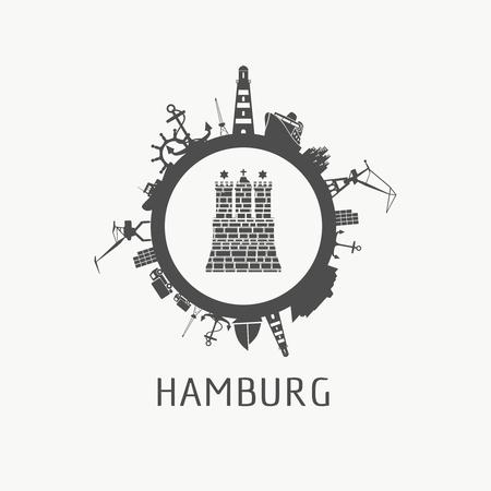 Transporte marítimo y siluetas relativas de viajes alrededor del círculo. Elemento de la ciudad de Hamburgo del escudo de armas