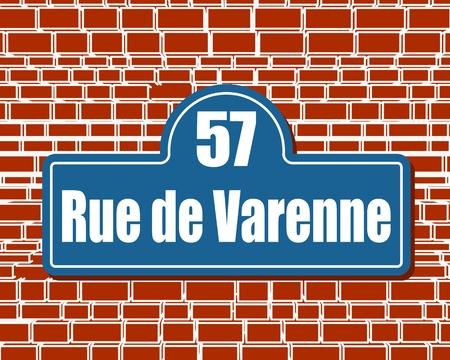 Los letreros de la calle con una inscripción en francés Varenne street, el edificio número cincuenta y siete en París, Francia. Ilustración de vector