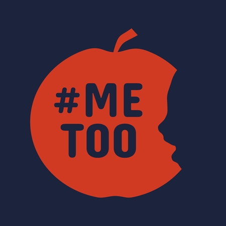 Me too hashtag. Social movement concerning sexual assault and harassment. An apple with face profile view. Optical illusion. Human head make silhouette of fruit. Half eaten apple