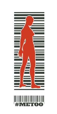 Me too hashtag. Social movement concerning assault and harassment. Bar code with woman silhouette Vecteurs