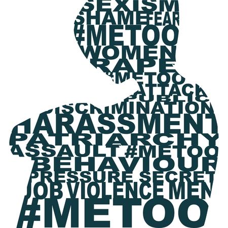 Moi aussi hashtag. Mouvement social concernant les agressions et le harcèlement. Silhouette de femme conçue comme collage de mots