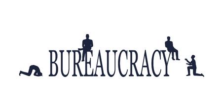 Businessmen stopped by bureaucrat . Bureaucracy concept. Flat illustration Vectores