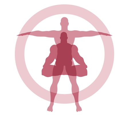 Muscular man sit in meditation pose. Athlete standing. Human silhouettes with overlay effect. Yoga Center Emblem.