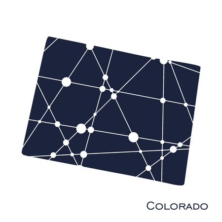 Image relative to USA travel. Colorado state map textured by lines and dots pattern