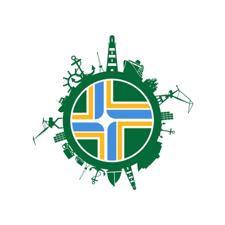 Sea shipping and travel relative silhouettes around the circle. Portland city flag.