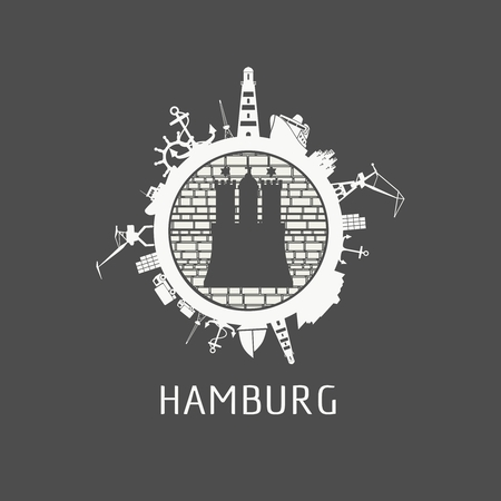Sea shipping and travel relative silhouettes around the circle. Hamburg city element from coat of arms Illustration