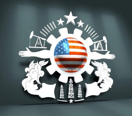 Mining industry emblem. Human arms and cog wheel. Sphere textured by flag of USA. 3D rendering Stock Photo