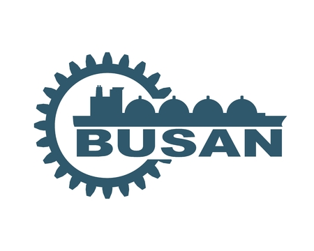 Busan city name in gear and sea ship silhouette. Stock Vector - 111194694