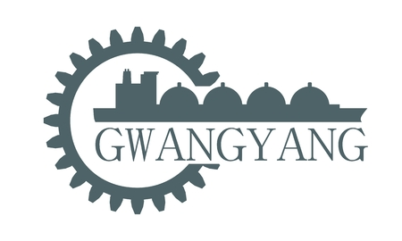 Gwangyang city name in gear and sea ship silhouette.
