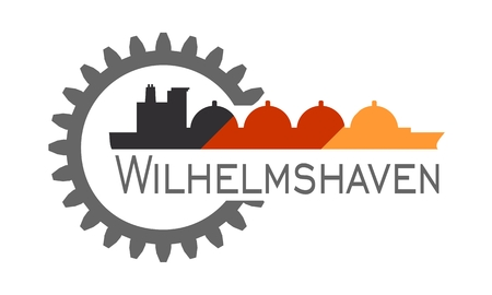 Wilhelmshaven city name in gear and sea ship silhouette. Illustration