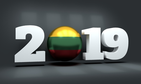 2019 Happy New Year Background for seasonal greetings card or Christmas themed invitations. Flag of the Lithuania. 3D rendering Imagens