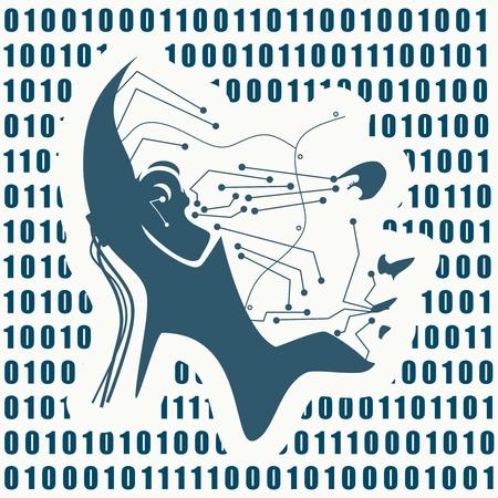 Humanoid robot head. Robotics industry relative image. Binary code on backdrop