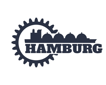 Hamburg city name in gear and sea ship silhouette. Illustration