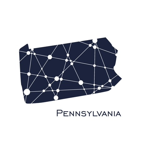 Image relative to USA travel. Pennsylvania state map textured by lines and dots pattern