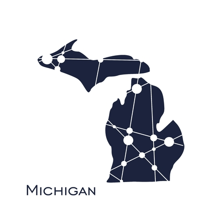 Image relative to USA travel. Michigan state map textured by lines and dots pattern