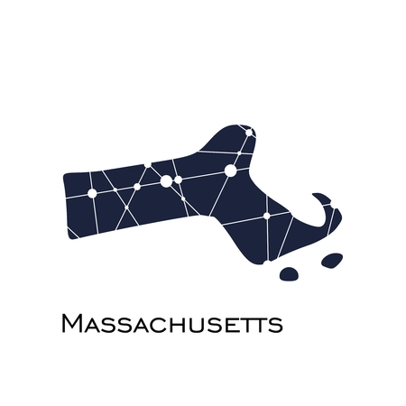 Image relative to USA travel. Massachusetts state map textured by lines and dots pattern Illustration