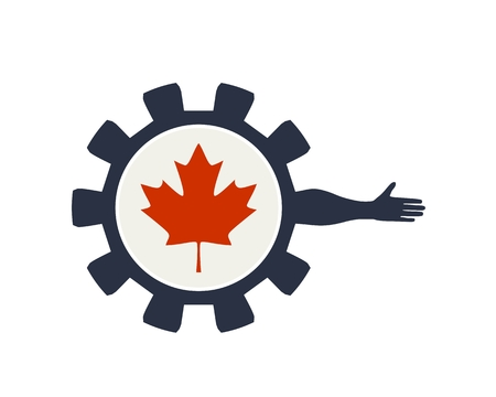 Abstract technology assistant emblem. Human arm and cog wheel with flag of the Canada