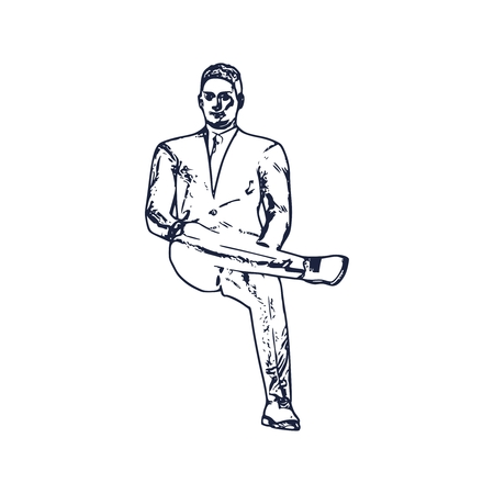 An illustration of man in sitting pose on chair. Front view. Web icon for application